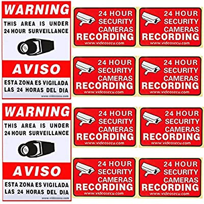 VideoSecu 10 Pack of Security Warning Signs Stickers Decals for CCTV Video Surveillance Camera System S01128 WR8