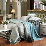 Lotus Karen Luxury Satin Cotton 40s Jacquard Embroidery Lace Ruffle Bedding Sets 4pc Duvet Cover Bedsheet Pillowcase (King, 10Green-Gray)
