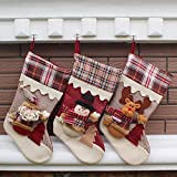 Generic Snowman : New Year Christmas Stockings Socks Plaid Santa Claus Candy Gift Bag Xmas Tree Hanging Ornament...
