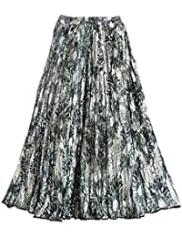 DollsofIndia Black Floral Print On Grey Satin Long Skirt - Length - 39 Inches - Elastic Waist - 25 To 34 Inches...