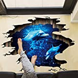 Amaonm Removable Creative 3D Dolphin Swiming in the Deep Blue Sea Ocean Wall Decals Stickers Girls Nursery Room Walls Decorations Art Decor Home Decal Classroom Bathroom Stickers for Kids Baby Boys (Color: Dolphin)