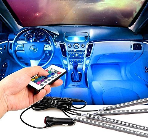EXCOUP 4pcs LED Interior Lights Strip for Car Under dash Lighting Kit with Sound Active Function and Wireless IR Remote Control