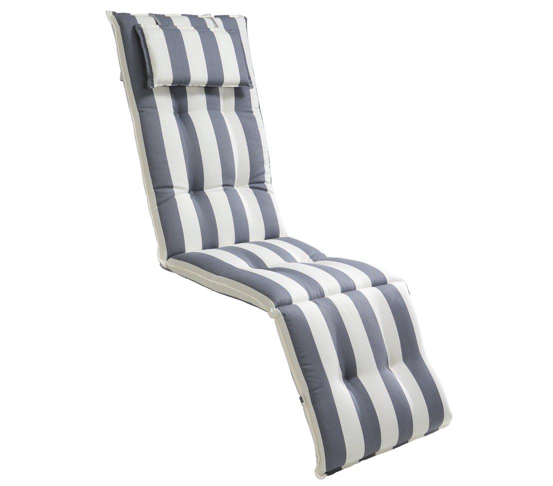 Dehner Relaxauflage Hamburg, ca. 175 x 50 x 8 cm, Baumwolle, blau/weiß online bestellen