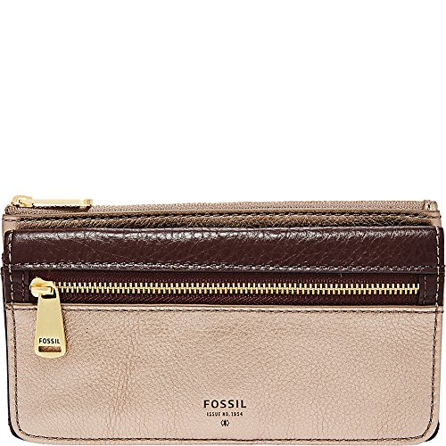 Preston Flap Wallet - Taupe Metallic Wallet, One Size (Fossil Preston Leather Flap compare prices)