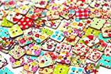 RayLineDo® Square Buttons Mixed Wood Craft Buttons Sewing Scrapbooking Flower Patterns with 2 Holes