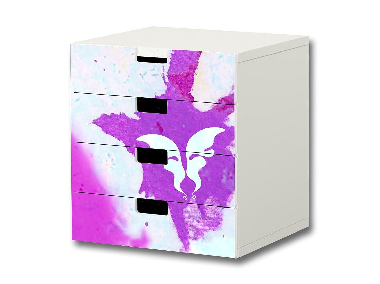 """""""Butterfly Aquarell"""" Möbelsticker / Aufkleber – S4K01 – passend für die Kinderzimmer Kommode mit 4 Fächern / Schubladen STUVA von IKEA – Bestehend aus 4 passgenauen Möbelfolien (Möbel nicht inklusive) günstig"""