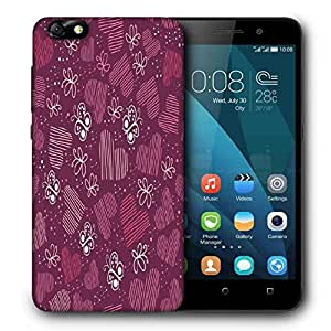 Snoogg Multicolor Heart And Butterfly Printed Protective Phone Back Case Cover For Huawei Honor 4X