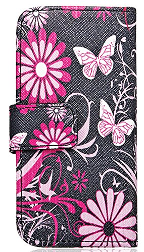 Mylife (Tm) Star Night Black And Pink Daisy, Butterfly - Contemporary Design - Textured Koskin Faux Leather (Card And Id Holder + Magnetic Detachable Closing) Slim Wallet For Iphone 5/5S (5G) 5Th Generation Itouch Smartphone By Apple (External Rugged Synt