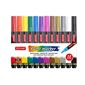 ZEYAR Acrylic Paint Pens for Rock painting, 12 colors, Water based, Medium Point, Assorted Colors,Odorless,Acid Free,Non-Toxic and Safe to Use (Color: black, white, gold, silver, red, yellow, green, blue, pink, violet, orange, brown, Tamaño: Medium point)