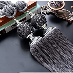 Luxury Tassels Curtain Tiebacks Hanging Belt Ball Curtain Holdbacks (Grey)