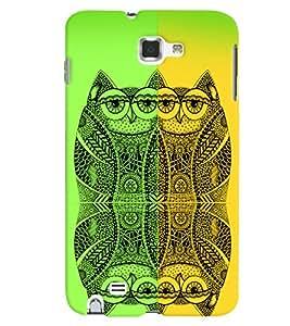PrintVisa Birds Modern Art Owl 3D Hard Polycarbonate Designer Back Case Cover for Samsung Galaxy Note 1
