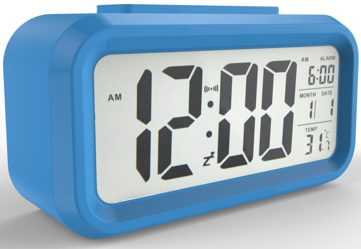 YIMAN™ Led Clock Smart Oversized Backlit Digital Alarm Clocks Display Intelligent Alarm Clock Progressive Ringtone with Temperature(Blue)