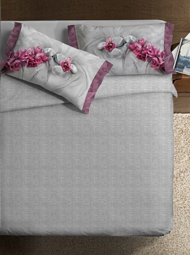 Ipersan Parure copripiumino fotografico Fine-Art Disegno Asian grigio/rosa matrimoniale