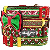 "Blueberry Pet Christmas Party Fair Isle Style Dog Collar with Detachable Bow Tie, Neck 18""-26"", Large, Holiday Collars for Dogs"