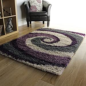 Luxury Non Shed Purple Grey Soft Thick Shaggy Bedroom Rugs