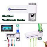 USHOT Automatic Toothpaste Dispenser, Sterilizer Toothbrush Holder Cleaner & Automatic Toothpaste Dispenser (Color: White, Tamaño: 8.66