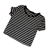 Weixinbuy Womens Sexy Striped T-shirt Casual Midriff Short Striped Blouse Black