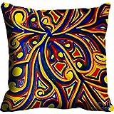 MeSleep Digitally Printed Abstract Micro Fabric Cushion Cover - Blue (CDEK-06)
