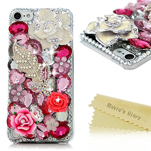 Touch 5 Case - Mavis's Diary® 3D Handmade Luxury Bling Crystal Lovely White Camellia Leaf with Shiny Sparkle Pink Rhinestone Diamonds Gems Design Clear Hard PC Cover For iPod Touch 5th Generation (Ipod 5 Cases Pink Gems compare prices)