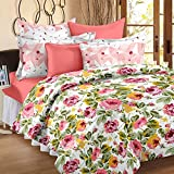 Story@Home Elegant Floral Print Mix N Match Design Double Bedsheet With 2 Pillow Covers 100% Cotton Satin Double Size Printed bedspread, Pink Flower with Green Leaf Printed