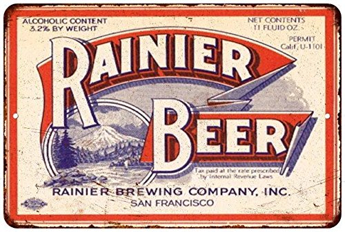 Rainier Beer Vintage Look Reproduction Metal Sign 8x12 8123014 (Rainier Beer Sign compare prices)