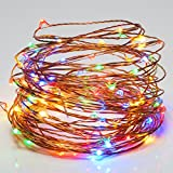 Goalsun USB LED String Lights Copper WireLights - Waterproof Starry String Lights - 33ft 100LEDs Multi Color Led Strings - Flexible Rope Lights Décor for Seasonal Decorative Xmas Holiday - Wedding - Parties