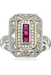 Sterling Silver and 14k Yellow Gold Diamond and Ruby Art Deco Style Ring