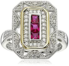 buy Sterling Silver And 14K Yellow Gold Diamond And Created Ruby Art Deco Style Ring, Size 5