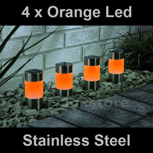 4 x Orange Solar Led Light Garden Path Marker Mini Bollard Patio Deck Decking- Stainless Steel - Mini Bollard
