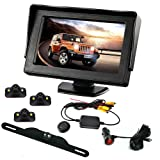 B-Qtech Backup Camera and Monitor Kit - 4.3 ' LCD Monitor Rear View Camera and 3 Car Blind Spot Camera with Waterproof Night Vision For Car/Vehicle To Avoid Blind Areas (Color: 4 Video)