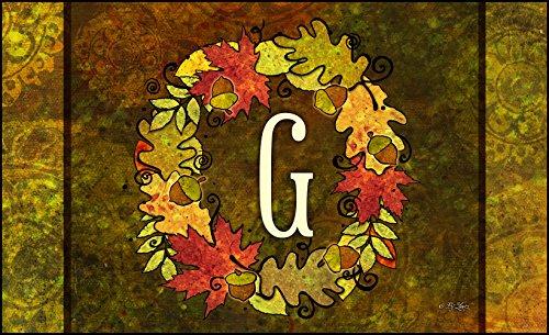 Toland Home Garden Fall Wreath Monogram G 18 x 30-Inch Decorative USA-Produced Standard Indoor-Outdoor Designer Mat 800126