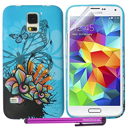 Beeshine Retail Package Protective Soft Rubber Skin Flexible Tpu Gel Case Cover With Lcd Film Screen Protector & Touch Stylus Pen For Samsung Galaxy S5 Sv G900 (Elegant Blue Butterfly Pattern)