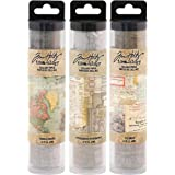 Tim Holtz Idea-Ology Collage Paper Rolls - Travel, Typography and Document - Bundle of Three Rolls