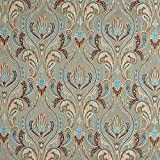 B0750E Grey, Blue and Bronze Large Scale Leaves Damask Brocade Upholstery Fabric By The Yard