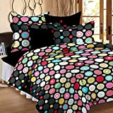 Bedspun Superior Premium Top Quality 120 TC 100% Cotton Circle Pattern Bedsheets, Double Bedsheets With 2 Pillow Cover - Black
