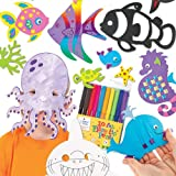 Sealife Craft Pack. Save 28% when bought in pack! Includes 10 tropical fish scratch art decorations, 6 sealife colour in masks, 6 sealife stained glass effect decorations, 5 funky fish magnets, 6 sealife weaving coaster kits, 108 sealife foam stickers an