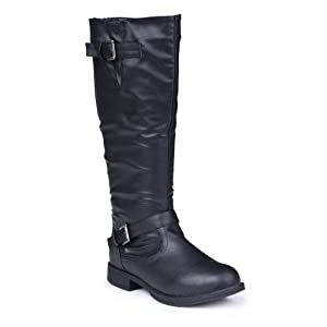 Twisted Women's Amira Wide Width, Wide Calf Knee-High Riding Boot- BLACK, Size 9