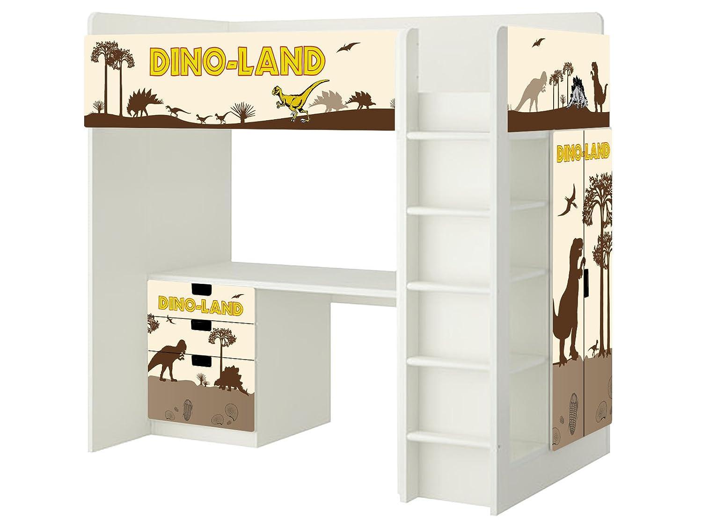 Dinosaurier Aufkleber – SH03 – passend für die Kinderzimmer Hochbett-Kombination STUVA von IKEA – Bestehend aus Hochbett, Kommode (3 Fächer), Kleiderschrank und Schreibtisch günstig bestellen