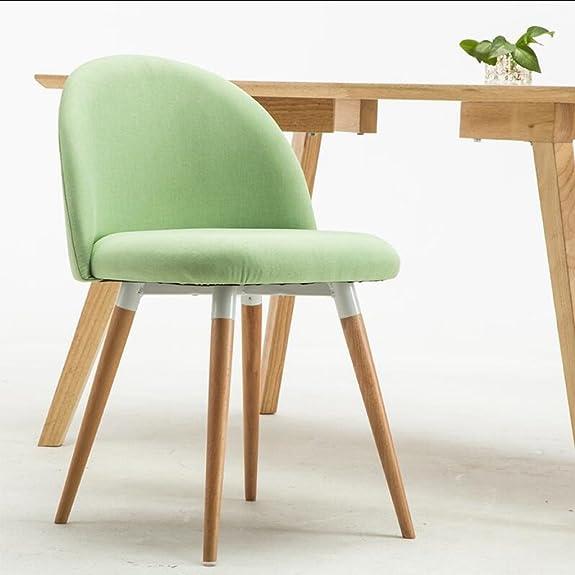 LINGZHIGAN Sedia semplice in lino semplice verde in lino assemblare il sedile in legno massello Sedie in legno massiccio Sedia da caffè Lounge