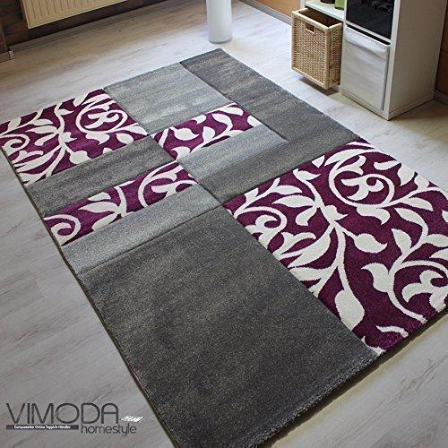 VIMODA cascadapl6089 tappeto dal design moderno con motivo floreale a quadretti, ondlulati, taglio, senza sostanze nocive, Grau / lila, 160 x 230 cm