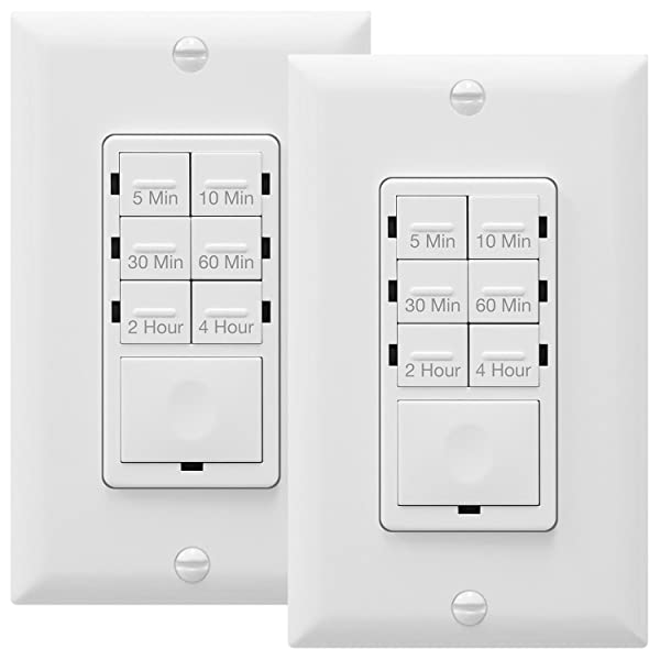 ENERLITES Countdown Timer Switch 5 min 2-Pack Light Timer Switch Neutral Wire Required Wall Timer Switch Night Light LED Indicator White Fan Switch Timer Bathroom Timer Switch 4 hrs HET06