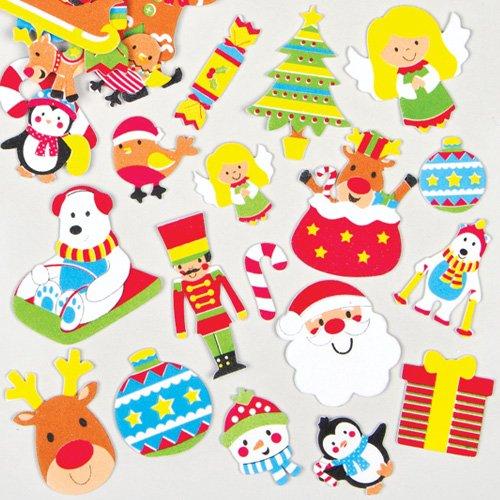 Autocollants Noël en Mousse pour enfants à utiliser pour décorer les cartes de Noël et les loisirs créatifs (Lot de 100)