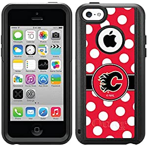 Coveroo Calgary Flames Polka Dots Design Phone Case for iPhone 5c - Retail Packaging - Black