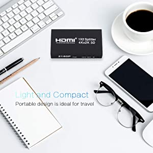 HDMI Splitter 1 in 2 Out, 1x2 Powered Splitter, HDMI V1.4 Supports Full 4K HD 1080P, 2160P & 3D Resolutions for DVD player, laptop, HDTV or other Devices to two display devices with HDMI ports. (Color: 1 in 2out)
