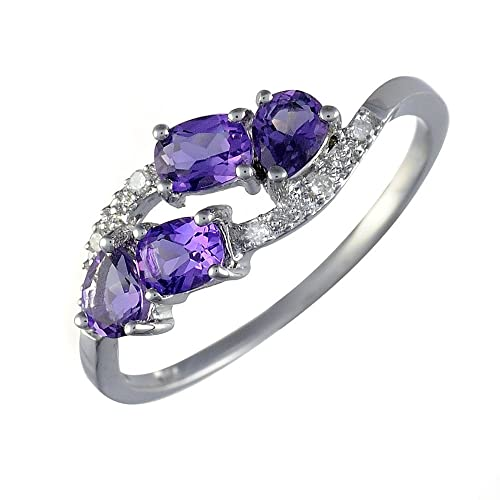 Ivy Gems 9ct White Gold Eliptical Amethyst and Diamond Multi Stone Cluster Ring