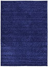 Solid Color New Navy Blue Shag Area Rug Rugs Shaggy Collection (Navy Blue, 4\'x5\'3\