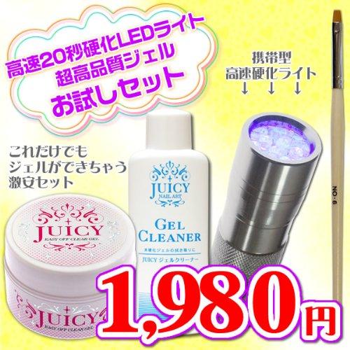 ジェルネイルキット ペン型LEDライトシルバーと高品質クリアジェルのお試しセット UVライト