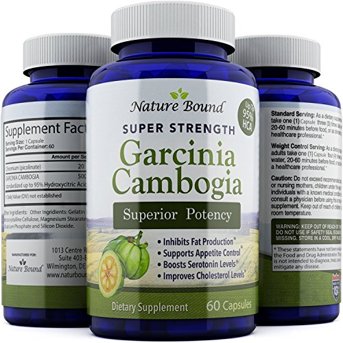 Pure Garcinia Cambogia Extract – Dietary Supplement for Weight Loss – Fat Burning Pills for Women and Men – Antioxidant Blend for Increased Immunity – Cleanse and Detox by Nature Bound – 60 Capsules