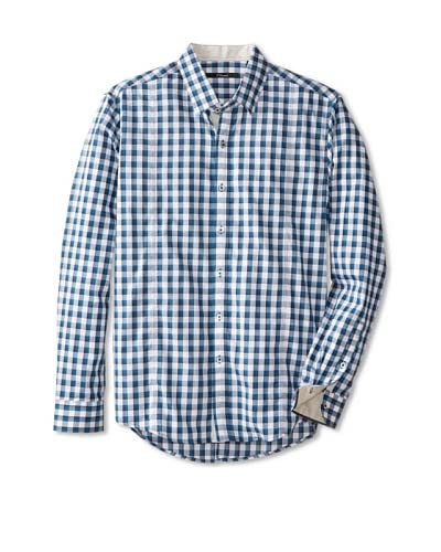 7 Diamonds Men's I Will Wait Two Tone Gingham Long Sleeve Shirt