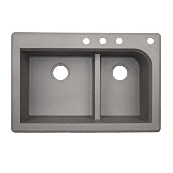 Swaoi|#Swanstone QZ03322LD.173-4C 22-In X 33-In Granite Kitchen Sink 4-Hole, Metallico,